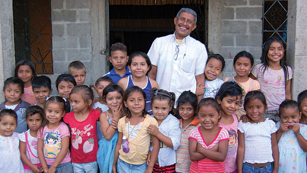 Nicaragua Children With Pastor Outside of Their Church