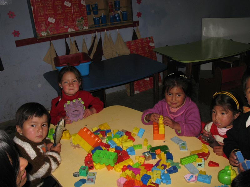 Peru Children Playing With Blocks