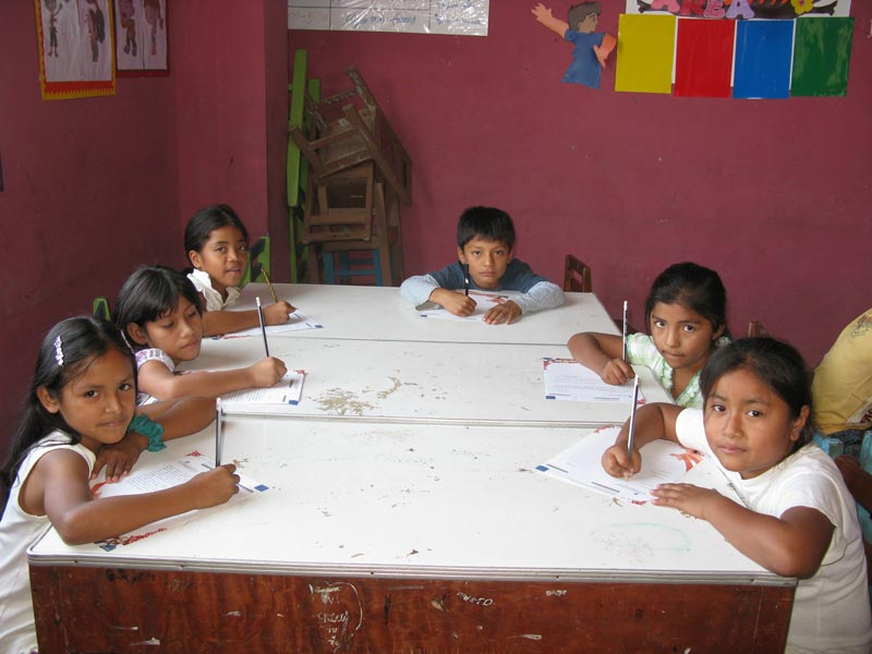 Peru Children Writing Sponsor Letters