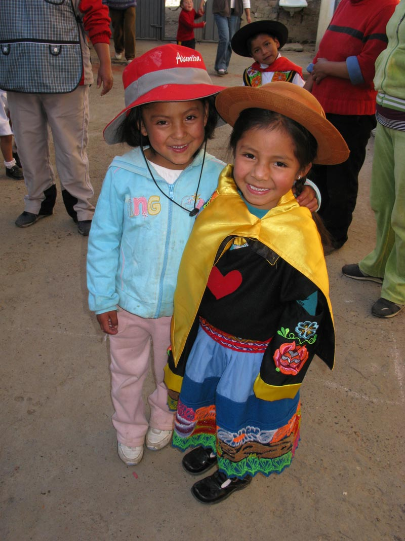 Peru Girls Wearing Traditional Hats
