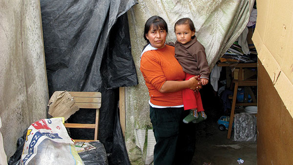 Peru Woman and Child Near Home