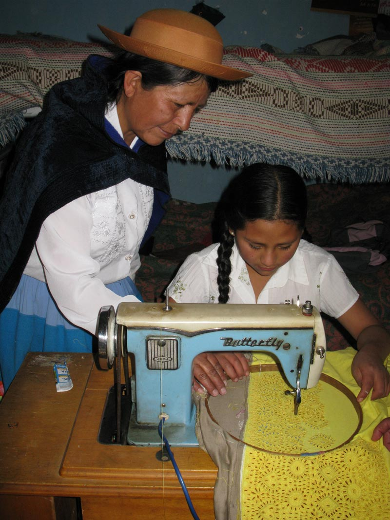 Peru Women Sewing at a Sewing Machine
