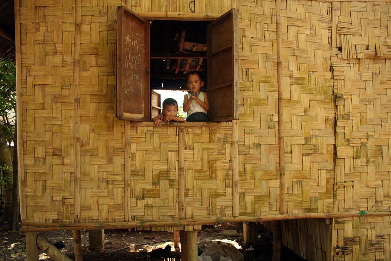 Philippines boys looking out window