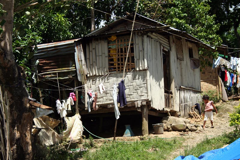 Philippines home with clotheslines
