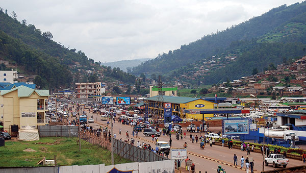 Rwanda Busy Street with Mountains in the Background