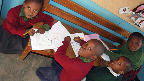 Tanzania Children Drawing Pictures