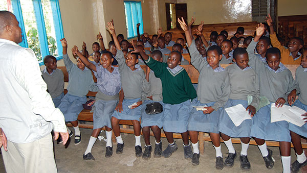 Tanzania Children Raising Hands