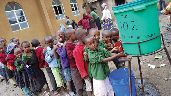 Tanzania Children Washing Hands