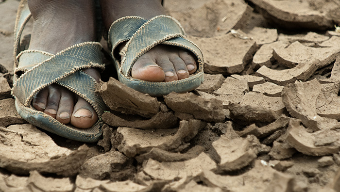 Tanzania Feet and Sandals on Dry Earth