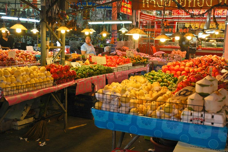 Thailand produce stands at market
