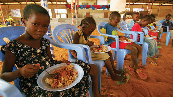 Togo Children Eating a Nutritious Meal