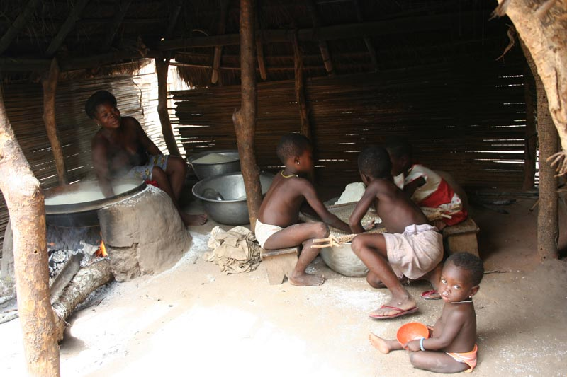 Togo Family Cooking in the Home