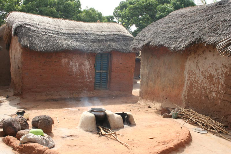 Togo Small Homes and a Cooking Fire
