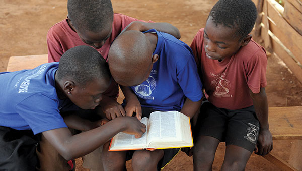 Uganda Boys Reading the Bible