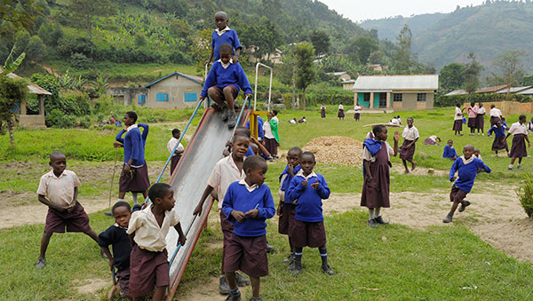 Uganda Children Playing on the Slide