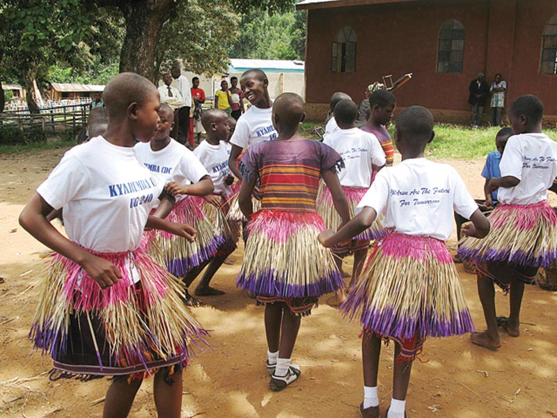 Uganda Girls in Grass Skirts