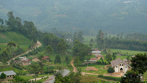 Uganda Green Countryside and Homes