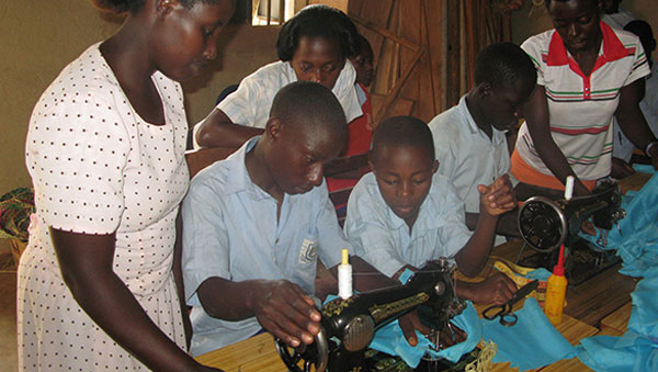 Uganda Boys Learning to Sew