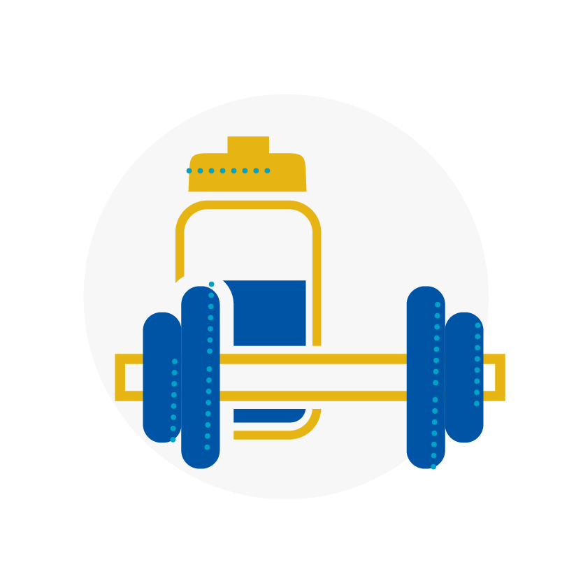 Blue and yellow icon of a dumbbell and water bottle