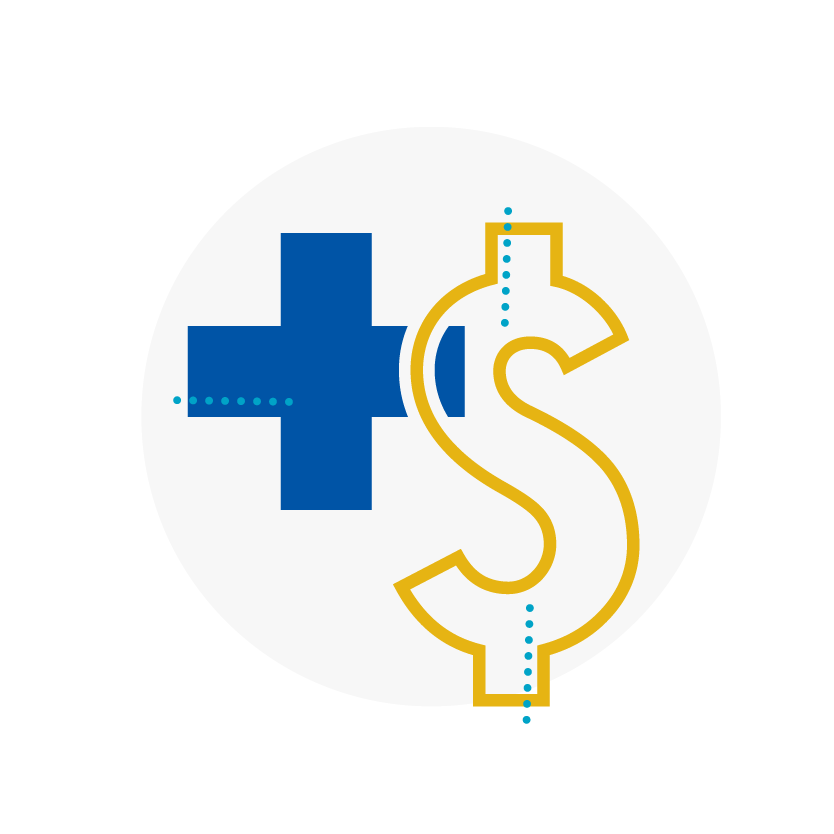 Blue and yellow icon of medical cross and dollar sign