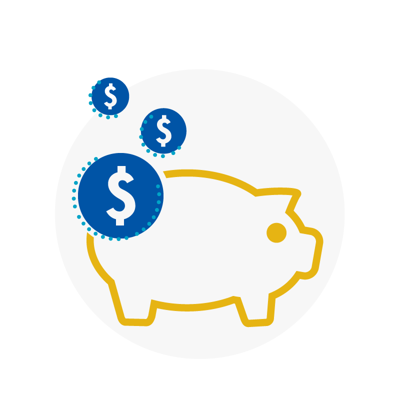 Blue and yellow icon of piggy bank and dollar sign