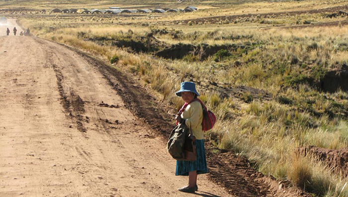 bolivia woman on a road