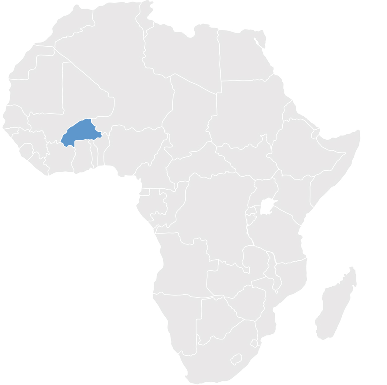 Gray map of Africa with Burkina Faso in blue