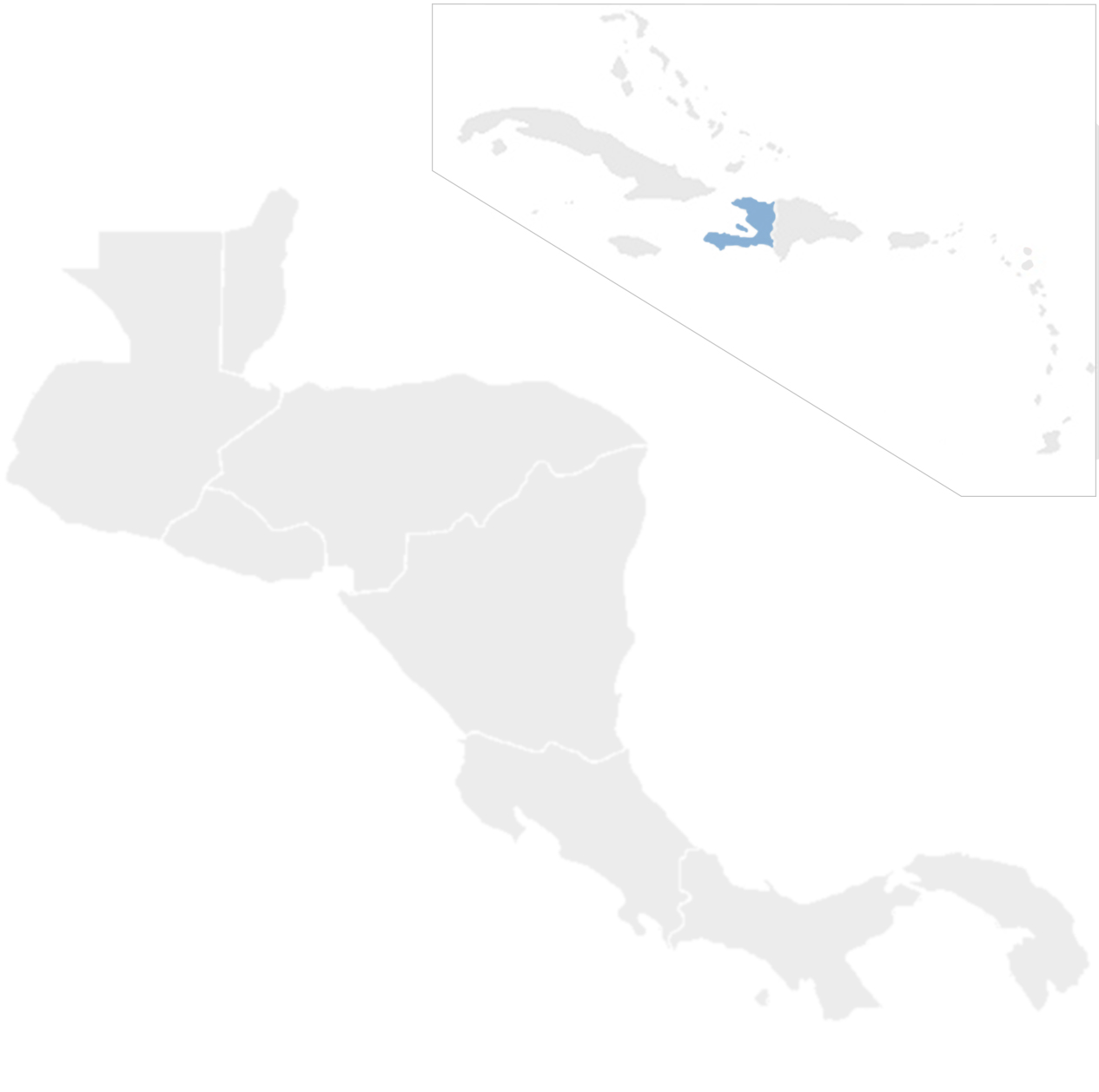 Gray map of Central America and the Caribbean with Haiti in blue