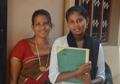 Rajamani and her daughter Sabitha smiling