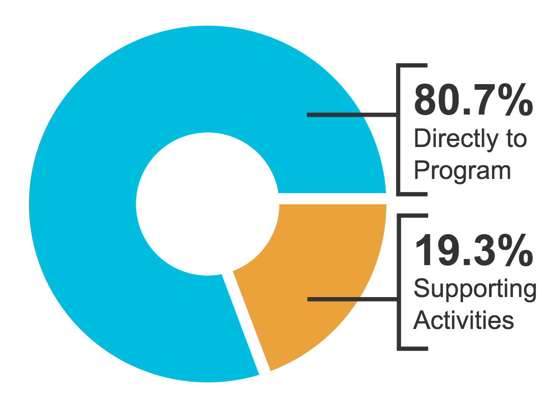 Pie Chart: In 2017, 80.7% of Compasson's expenses went directly to programs. 19.3% went to supporting activites.