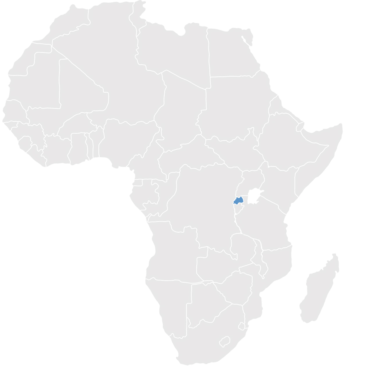 Gray map of Africa with Rwanda in blue