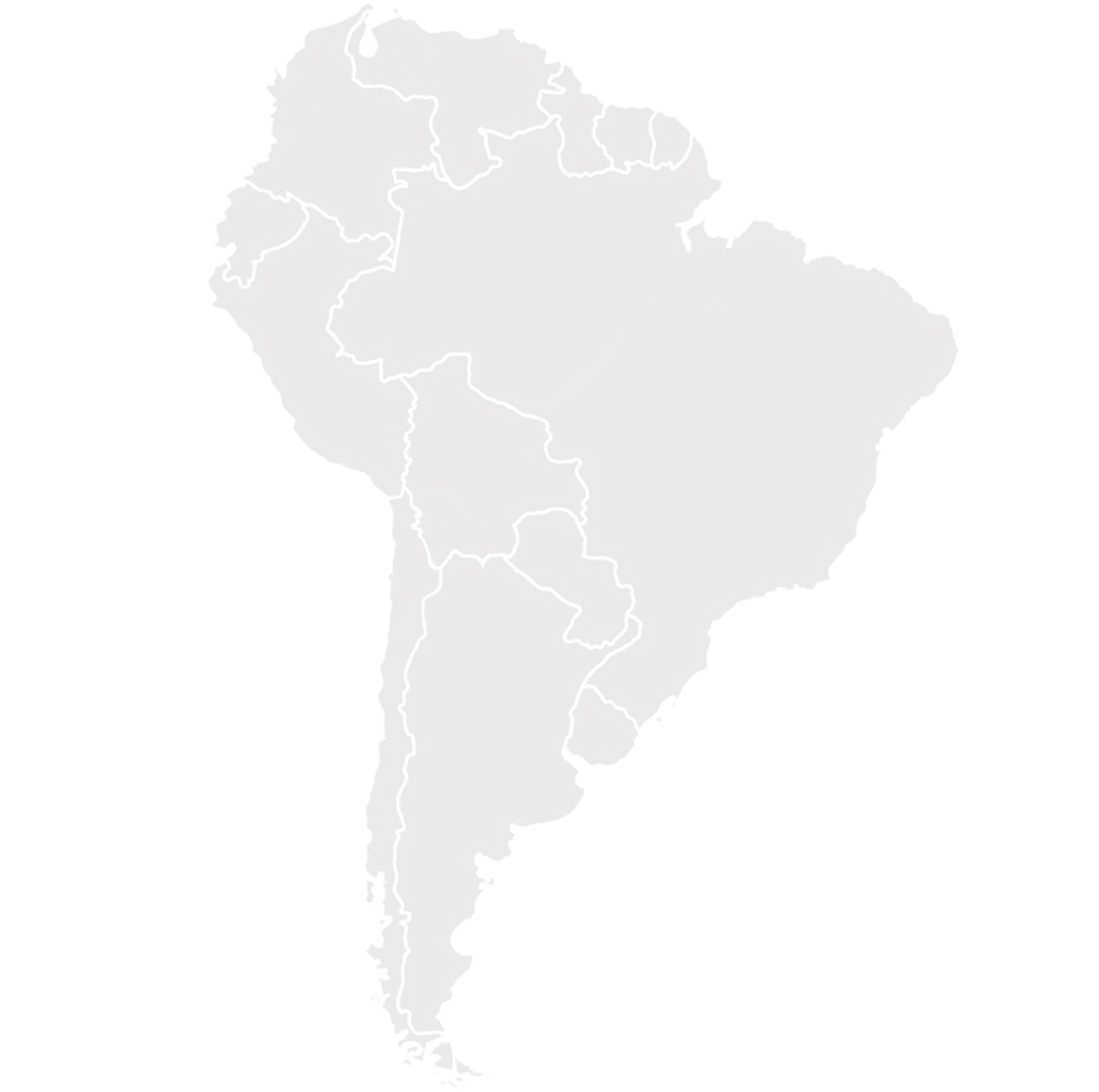 Gray map of South America