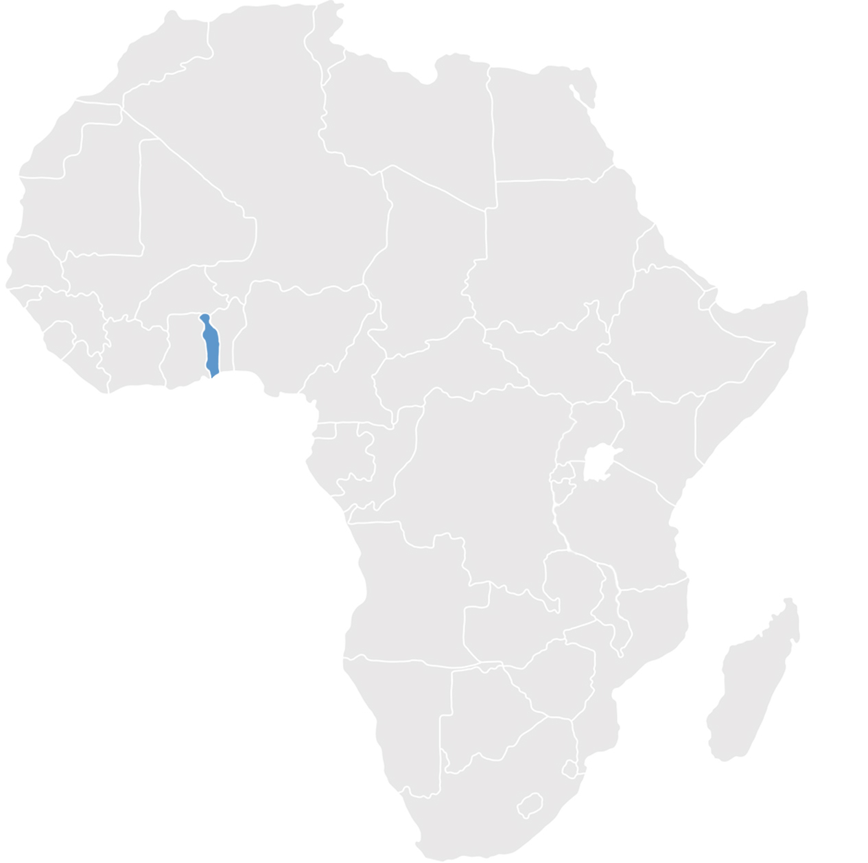 Gray map of Africa with Togo in blue